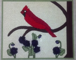 Cardinal with Flowers