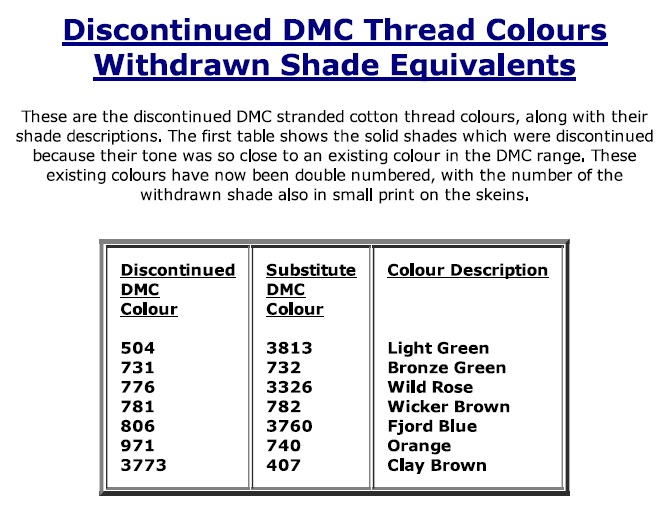 photograph about Dmc Floss Color Chart Printable named Discontinued Colours inside DMC Floss Crazy above Needlepoint